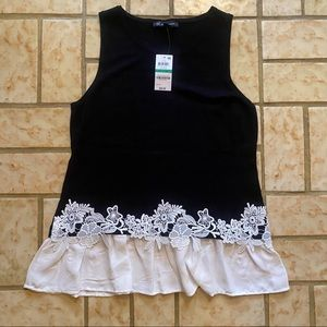 NWT Inc Knit Embroidered Flowy Bottom Tank Top